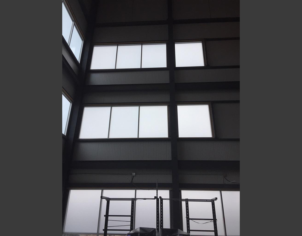 Installation pellicule givrée en hauteur